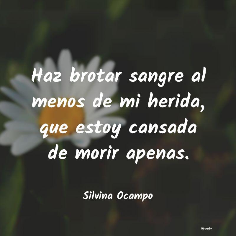 Silvina Ocampo Haz Brotar Sangre Al Menos De