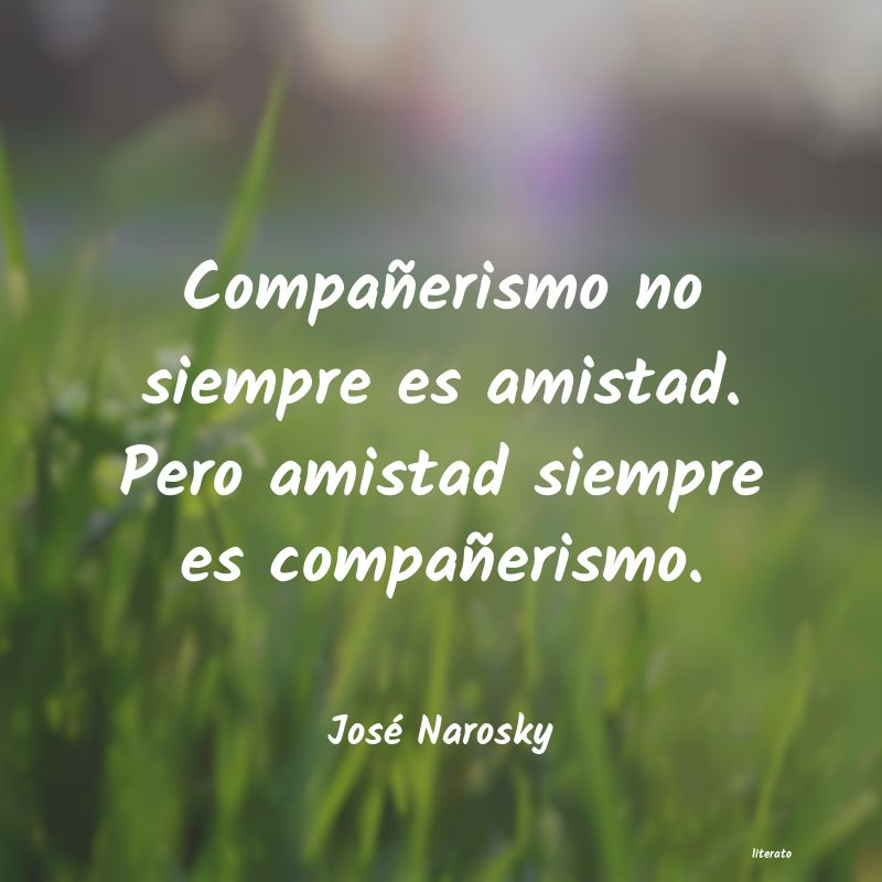 José Narosky Compañerismo No Siempre Es Am