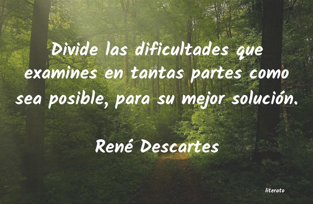 René Descartes Divide Las Dificultades Que Ex