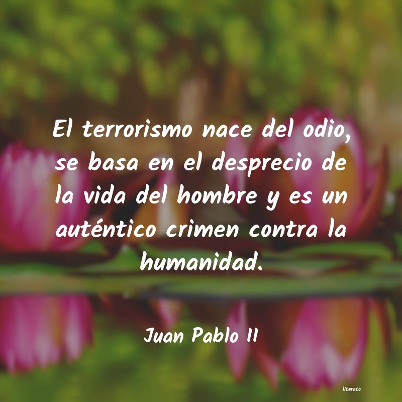 Juan Pablo Ii El Terrorismo Nace Del Odio S