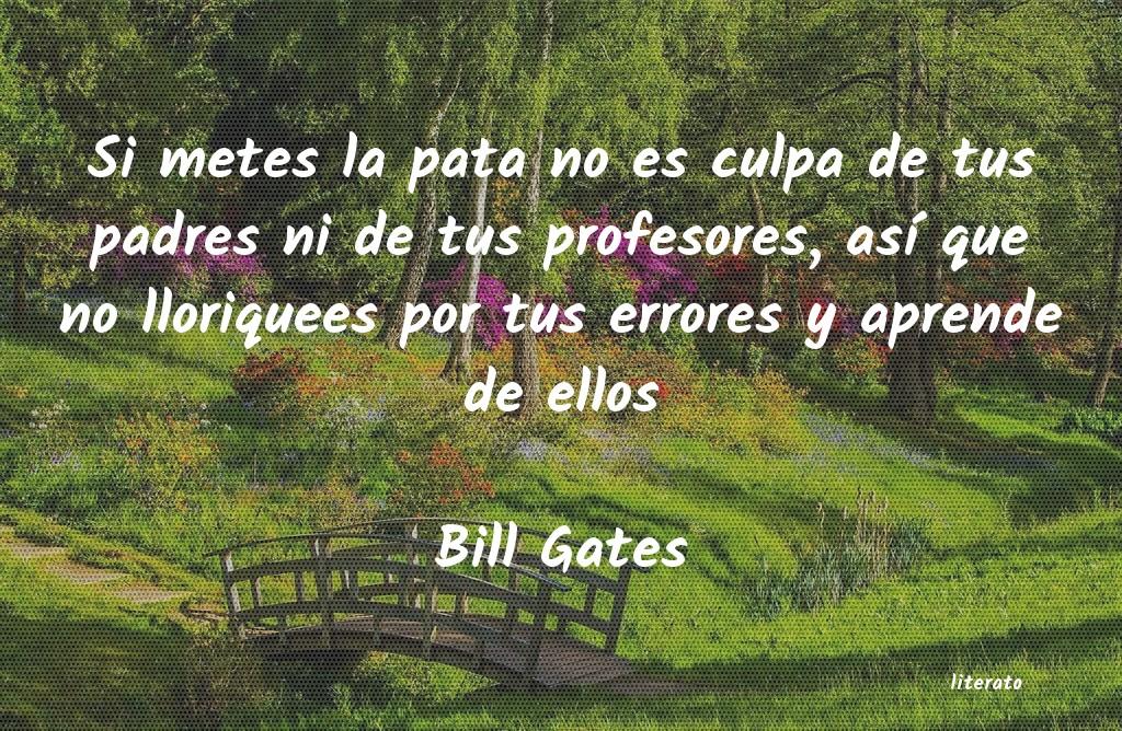 Bill Gates Si Metes La Pata No Es Culpa D