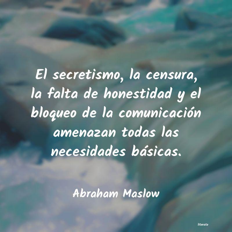 Abraham Maslow El Secretismo La Censura La