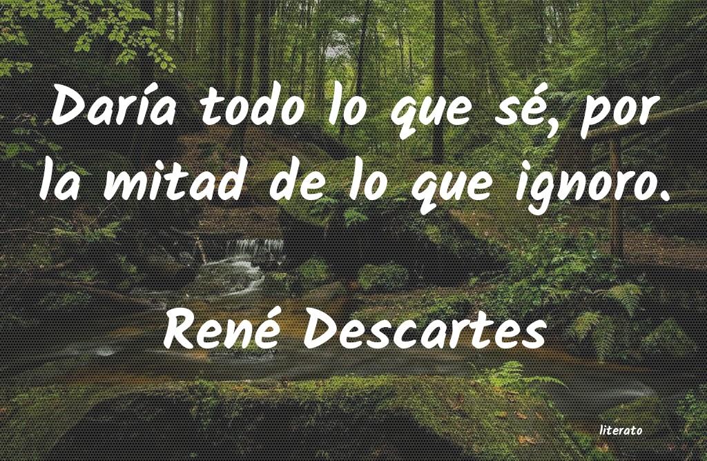 René Descartes Daría Todo Lo Que Sé Por La