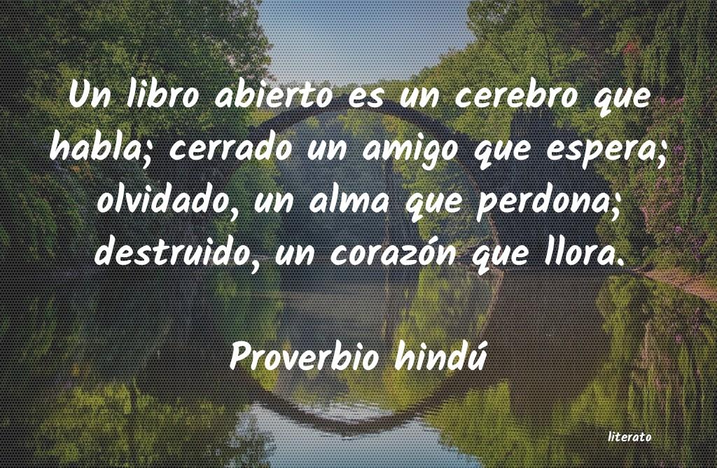 Proverbio Hindú Un Libro Abierto Es Un Cerebro